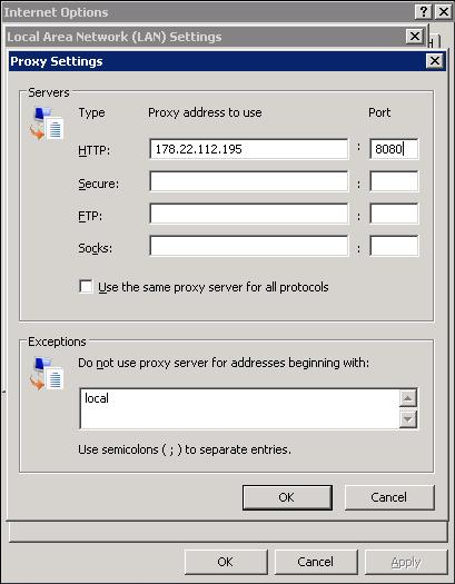 Internet Explorer proxy setting