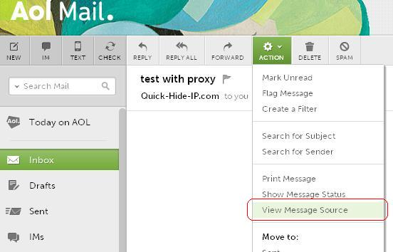 View message source in AOL Mail